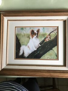 """Papillon White & Brown Dog Picture Butterfly R Maystead Framed Matted 16"""" X 19"""""""
