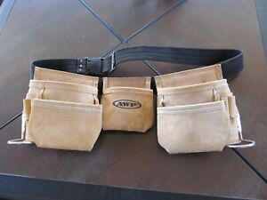 AWP American Work Products Leather Carpenter Tool Belt Bag Pouch L490
