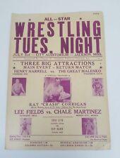 Original 1956 Wresting Event broadside Poster-City Auditorium Jackson Miss 14x20