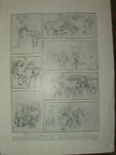 VINTAGE 1914 WWI MAGAZINE PRINT - SKETCHES OF WAR HORSES IN ACTION