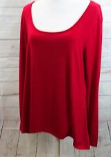METAPHOR WOMEN SIZE L RED SOLID TEE T SHIRT TUNIC TOP BLOUSE HI LO
