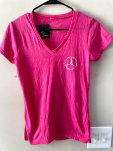 Mercedes Benz Women's Pink Short Sleeve V Neck T Shirt Size Small Brand New