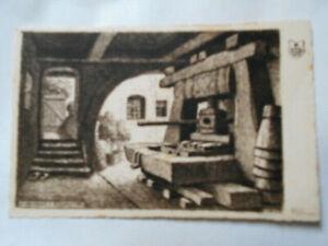 HANSI carte postale ancienne Un pressoir à RIQUEWIHR 1928