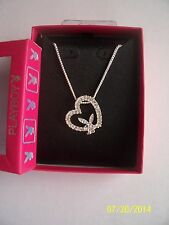 "Original Playboy Tilted Crystal Heart Pendant &  Adjustable 16"" Chain"