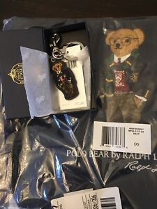 NWT Polo Ralph Lauren Iconic Preppy Polo Bear Twill & Leather Tote Bag & Key FOB