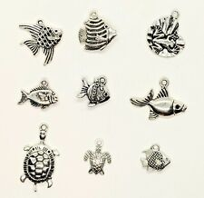 Fish Turtles Frog Charms Set of 9 Metal Charms Lake Ocean Sea Life