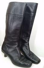 Arturo Chiano black leather mid-calf knee boots womens size 7.5 37.5 M