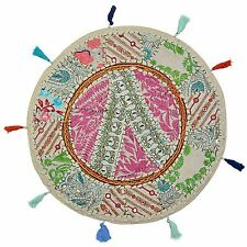 Indian Decor Round Fabric Floor Cushion Cover Pouffe Patchwork Home Accent