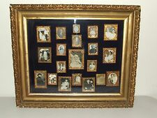 Antique Victorian Shadow Box Picture Frame with 20 Antique Portrait Photos