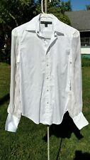 Ralph Lauren Black Label White Sheer Long Sleeve Button Shirt Size 2