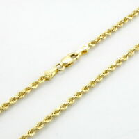 10K Yellow Gold Womens 2mm Dainty Diamond Cut Rope Chain Pendant Necklace 18""