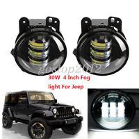 "2x 4"" Car CREE LED Fog Light For 07-14 Jeep Wrangler JK 30W Driving Bumper Lamp"