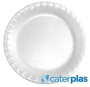 """White Disposable Polystyrene Plates 7"""" 9"""" 10"""" Foam Party Wedding Catering Pactiv"""