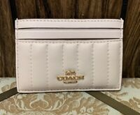 COACH LINEAR QUILTED CARD CASE:NWT CHALK W/QUILTING  2980