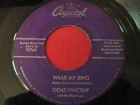 ROCKABILLY 45 - GENE VINCENT - WEAR MY RING / LOTTA LOVIN' - CAPITOL 3763