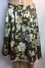 Banana Republic SZ 14,Silk/Cotton,Taupe/Ivory Florals ,Pleats,Fringed,Midi Skirt
