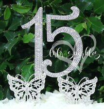 Quinceanera 15 Silver Crystal Rhinestone Cake Topper with 2 Butterfly's