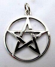 Sterling  Silver  (925)  Pentagram Star  ( 26 mm ) Pendant   !!     Brand New !!