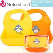 NatureBond Waterproof Silicone Baby Bibs for Babies & Toddlers (2 PCs)..