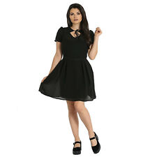 Hell Bunny Aria Black Gothic Bewitching Floaty Wicca Witch Mini Party Prom Dress