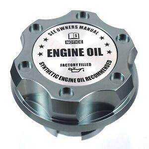 Gunmetal Billet Engine Oil Filler Cap Silver Engine Emblem For Ford 1/4 Turn
