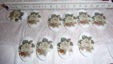 10 Cabochon Steine Brosche Ohr Rose weiß 38x25 Retro Vintage Schmuckherstellung