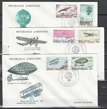 Gabon, Scott cat. 311-316. Anniversary of Flight issue on 3 First day covers.