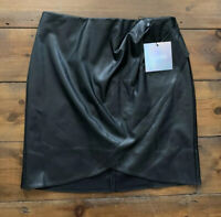 Missguided Faux Leather Wrap Mini Skirt Size 8 Black BNWT