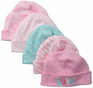 Gerber Baby Cotton Knit 5 Pack Caps, 0-6 Months