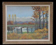 LAMOUSSIERE(XX)Paysage peintre Nivernais Jouet sur l'Aubois Cher Berry Nevers