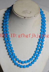 Natural A+++8mm Blue African Topaz Jade Gemstone Necklace Long 34''