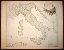 Carte d'ITALIE LES ROUTES DES POSTES gravure originale ROBERT DE VAUGONDY