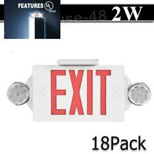 18 Pack Led Exit Sign Emergency Light Hi Output Red Compact Combo Ul