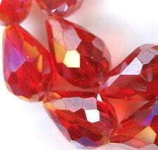 15 Czech glass Firepolish Faceted Teardrop Beads - Ruby red 15x10mm