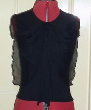 Pink Soda sz 12 black stretch jersey & chiffon bow sleeveless top