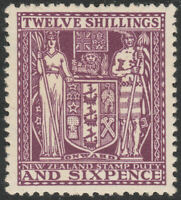 """NEW ZEALAND 1935 """"ARMS"""" SG F156 12/6d DEEP PLUM FISCAL MINT HINGED TONED"""