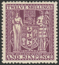 "NEW ZEALAND 1935 ""ARMS"" SG F156 12/6d DEEP PLUM FISCAL MINT HINGED TONED"
