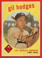 1959 Topps #270 Gil Hodges EX+ WARPED MARK Los Angeles Brooklyn Dodgers FREE S/H