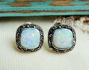 My S Collection 925 Sterling Silver & Marcasite Opalite Stud Earrings