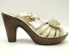 Born Cream Leather Floral Open Toe Buckle Slide Block Heel Shoes Women's 39 / 8