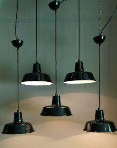 BAUHAUS ART DECO INDUSTRIE  FABRIK LOFT PENDEL LEUCHTE EMAILLE LAMPE SCHWARZ