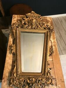 Antique French gold painted Jesso mirror c 1900's