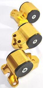 EMUSA Billet Engine 3 Hole Motor Mount Kit fit 94-01 Acura Integra GOLD