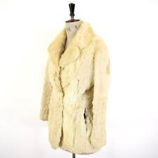 Women's vintage anni'70 Bianco Crema REALE CONEY Pelliccia di Coniglio Boho Festa GLAM Cappotto Uk S