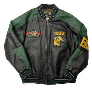 Vintage Green Bay Packers Leather Jacket Mens Medium Carl Banks G-III NFL Team