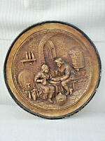 Antique ? Earthware Wall Plaque Couple Sitting in the House 13.5'' W