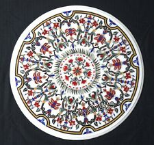 24 Inches Round Marble Coffee Table Top Hand Crafted Sofa Table with Mosaic Art