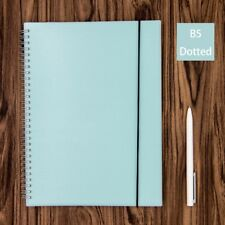 Blue Dot Grid Spiral Notebook Bullet Journal Big B5 Hardcover, Dotted 160 Pages