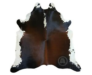 New Brazilian Cowhide Rug Leather TRICOLOR BLACK AND WHITE REDDISH 5'x7' Hide