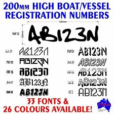 2x200mm Boat,Half Cabin marine grade REGISTRATION numbers letters decal stickers